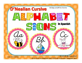 Round Alphabet Signs in D'Nealian Cursive {Spanish}