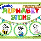 Round Alphabet Signs in Yellow-Blue-Green Theme {D'nealian