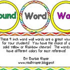Round Word Wall Words - Yellow or Rainbow Chevron