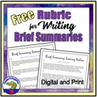 Rubric for Writing a Brief Summary