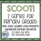 SCOOT!  First Grade and Primary Math - Word Problems and S