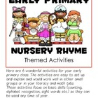 SIX Early Primary (PK-1) Center Activities -- Nursery Rhym