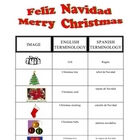 SPANISH - Christmas vocabulary sheet and KEY