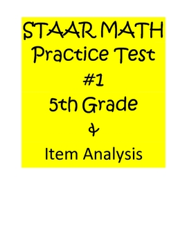 STAAR Math Practice Test 5th Grade & Item Analysis