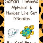 Safari-Jungle Themed Alphabet and Number Line - D'Nealian