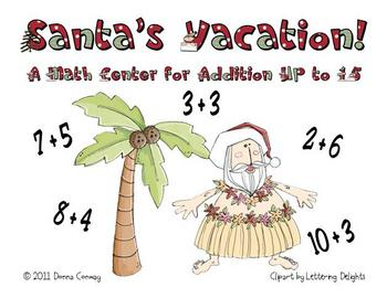 Santa's Vacation - Addition Math Center