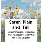 Sarah, Plain and Tall- Comprehension Questions & Vocabular