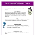 Sarah Plain and Tall Creative Reading Project Activities a