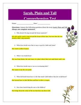 Sarah Plain and Tall Reading Comprehension Test, Answer Ke