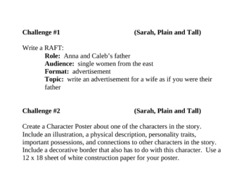 """""""Sarah, Plain and Tall"""", by P. MacLachlan, Project Challenges"""