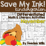 Save My INK: November NO PREP Math and Literacy Activities