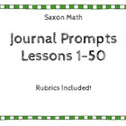 Saxon Math Journal Prompt Lessons 10-50 with Rubrics {Firs