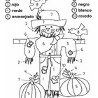Scarecrow Color by Number in Spanish {1-10}