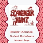 Scavenger Hunt Organizational Binder cover, dividers and r