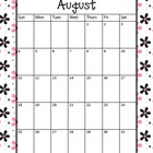 School Calendar - Pink/Black Flower Background