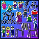 School Is Fun digital clip art (BW and full-color PNG files)