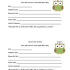 School Nurse Pass, Notes to Home, Notes for Nurse Owl Theme