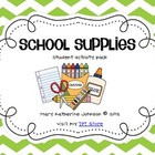 School Supplies {Student Emergent Reader & Activity Pack}