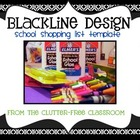 School Supply Shopping List Template BLACKLINE DESIGN - {5