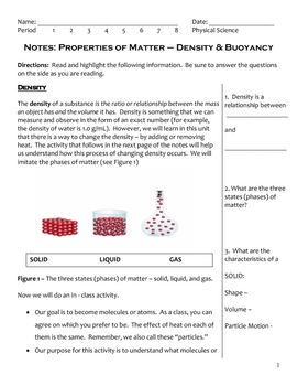 Science Notes - Density and Buoyancy (5 - 8)