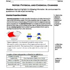 Science Notes - Physical vs Chemical Changes (5 - 9)