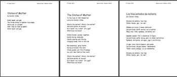 Science Poem about States of Matter