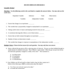 Scientific Method & Density Test (middle school science)