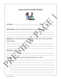 Scientific Method - Experiment Fill-in Sheet   4th-8th Grades