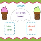 Scoops!  A summertime word building game or center