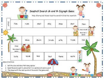 Seashell Search sh and th Digraph Literacy Station Game RF