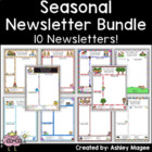 Seasonal Classroom Newsletter Templates - Set of 10