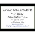 Second Grade Common Core Display Cards (Zebra Safari Theme)