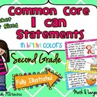 "Second Grade Common Core ""I CAN STATEMENTS"" Pocket Chart S"