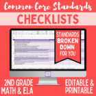 Second Grade Common Core Standards Editable Checklist (Math/ ELA)