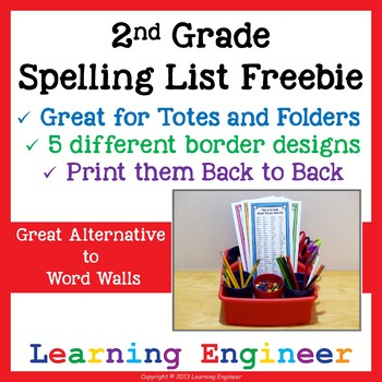 SECOND GRADE QUICK REFERENCE SPELLING LIST - TeachersPayTeachers.
