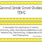 Second Grade Social Studies TEKS~ Yellow Polka Dot