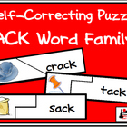 Self Correcting Puzzle - ACK Word Family Words