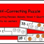Self Correcting Puzzle - Counting Pennies, Nickles & Dimes