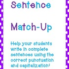 Sentence Match-Up Center:  Writing in complete sentences!