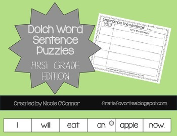http://www.teacherspayteachers.com/Product/Sentence-Puzzles-for-First-Grade-Dolch-Words-1186264