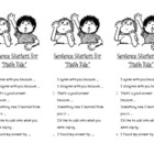 Sentence Starters for Math Talk for Journals