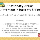 September Dictionary Skills - Back to School