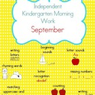 September Kindergarten Morning Work, Daily Math and Litera