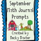 September Math Journal Prompts- Kindergarten C.C.
