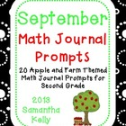 September Math Journal Prompts for 2nd Grade