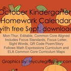 October M-Thur. CCSS Kindergarten 4 Week Homework Calendar