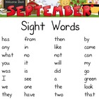 September Sight Words Packet