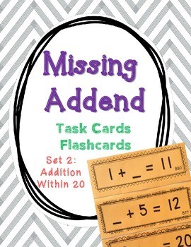 Set 2 - Missing Addend Task Cards or Flashcards (Addition