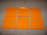 Set of 6 Orange Double Sided Geoboards - Square and Circle