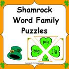 Shamrock Word Family Puzzles - CVC word literacy center fo
